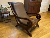 Beautiful, beloved, solid dark wood and leather sleigh chair . as shown.