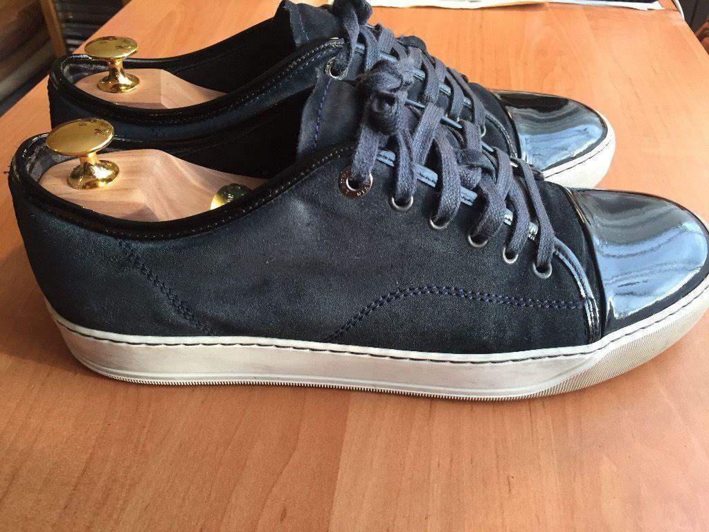 Luxurious Lanvin Toe Cap mens calf skin sneakers navy blue 34ee5dcfc82