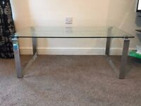 Glass Coffee Table with Chrome Legs