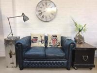 Petite airforce blue Chesterfield sofa. Can deliver