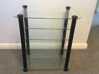 Stands Unique hifi equipment stand/rack - Black Ash supports with 4 adjustable glass shelves