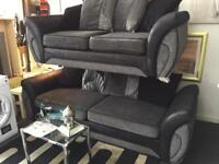 Grey and black 4+2 seater sofas £275 delivered