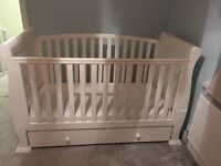 Lovely Sleigh Cotbed in white with good quality mattress and underbed draw