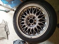 "BBS 15"" X 7"" alloy wheels and tyres mx5 civic Nissan Mazda Honda drift bmw e30"