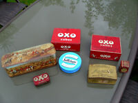 A collection of old tins all in good condition OXO, Cellotape and others