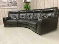 Black genuine leather curved corner sofa from dfs