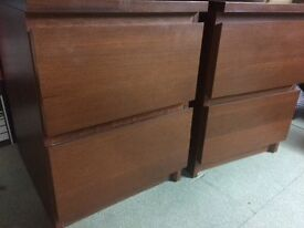 Pair bedside drawer units