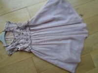 GIRLS NEXT SIGNATURE OCCASION DRESS ~ AGE 4 ~ PINK ORGANZA & SEQUIN DETACHABLE TOP ~ EX. COND ~ £3