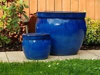 2 Blue glazed flower pots/planters