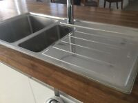 Kitchen stainless steel one and half bowl sink with tap and kit