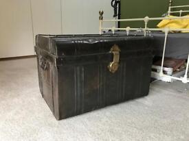 Large metal storage trunk
