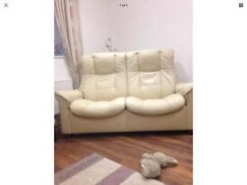 Ekornes Stressless Cream Leather 2 seater recliner settee