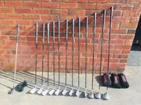 Full set of Mitsushiba Stealth golf clubs - right handed, graphite shafts and Infiniti putter