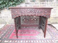 Antique Qing Dynasty 19th Century Chinese Hardwood Hand Carved Folding Traveling Desk Table V.G.C