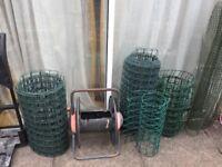 Rolls of green plastic wire