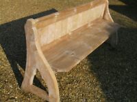 PINE CHURCH PEW. Ideal for using with kitchen table.Delivery poss. ALSO CHAPEL CHAIRS & MONKS BENCH.