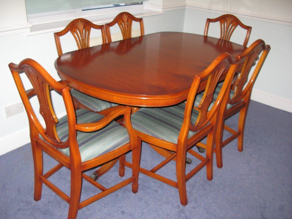 Extendable Yew Dining Table And Chairs