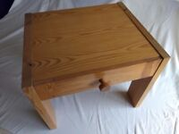 Pine bedside table with drawer