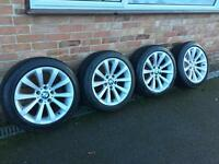 "BMW geniune 17"" 285 alloy wheels with run flat tyres alloys"
