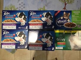 5 Boxes of SENIOR Cat Food SACHETS and one normal cat food HALF SHOP PRICE
