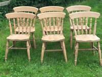 Six wooden pine beech kitchen dining chairs