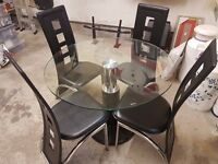 Glass Kitchen Table and 4no Matching Chairs