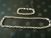Men's Silver Chain & Bracelet - 925ct - 7,5 ounce - 34 inch x 0,39 inch