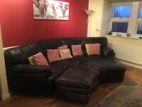 BLACK LEATHER CORNER SOFA - MUST GO ASAP - CHEAP DELIVERY - £250