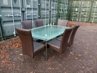 Glass Top Dining Table and 6 Chair Dinner Set Dining Room Kitchen Furniture Delivery Available
