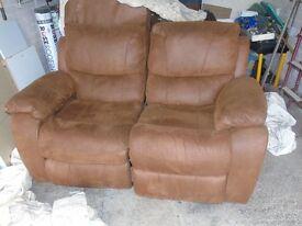 2 X 3 seat tan microfibre sofas