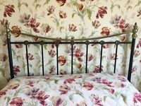 Black / antique brass Victorian style king size headboard for divan bed