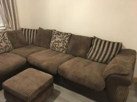 Brown L shaped sofa