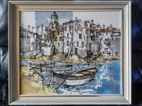 HARBOUR SCENE PAINTING BY Bernard Dufour (21 November 1922 - 21 July 2016) Listed French Painter.