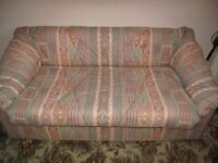 Sofa Bed /settee with a proper metal frame folding bed action with a mattress. Hardly used