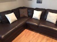 Chocolate Brown Faux Leather Corner Sofa