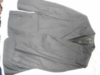 Next Mens Suit Black/Grey Pinstripe