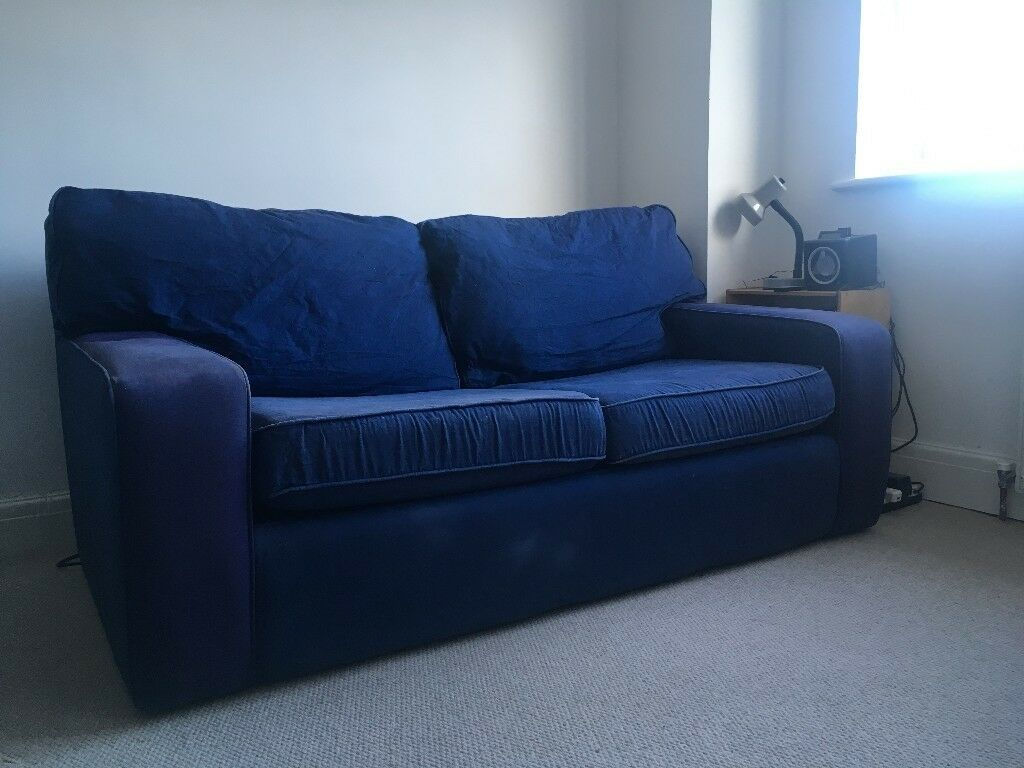 2 Seater Blue Sofa Bed Ikea Memory Foam Mattress Topper