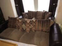 Dfs brown leather and fabric sofas