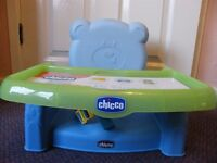 Chicco Booster Seat. Tray and dish unused. Exc Condition