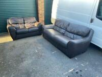 leather brown 2&3 seater sofas can be delivered