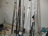 Fishing equipment. Boat fishing rods, reels and assorted tackle