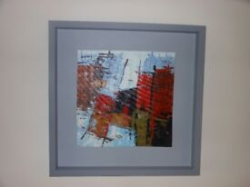 Oil Painting in Abstract. Harbour scene of boats..