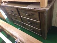 Large rustic wood chest of drawers