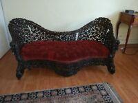 Antique Burmese decorative carved padouk sofa
