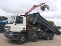 DAF 85 8 WHEEL TIPPER WITH CRANE AND GRAB BUCKET, 2003, OUT OF TEST, WORKS & DRIVES 100%
