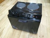 Belling BABY321R Table Top Cooker in Black. Single-oven cooker with grill. Easy-clean enamel