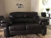 Italian Leather brown leather large two seater sofas very good condition
