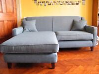 "MADE ""Halston"" 2 seater corner sofa, teal weave"