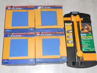 100 marine blue wall tiles.still boxed and tile cutter. only £20 for all