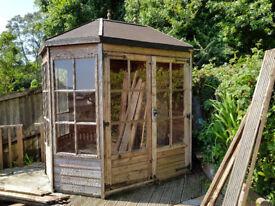 Garden summerhouse, octagonal 8ftx6ft, needs some attention, £200.